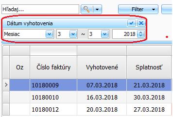 Ako si vo fakturácii vyfiltrujem len faktúry vystavené za zvolené obdobie, napr. mesiac marec?