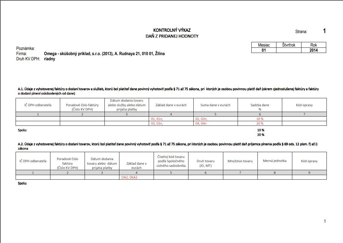 Prehľad smerovaní typov súm do Kontrolného výkazu DPH