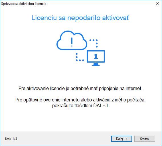 Ako si aktivujem softvérovú licenciu bez pripojenia na internet?