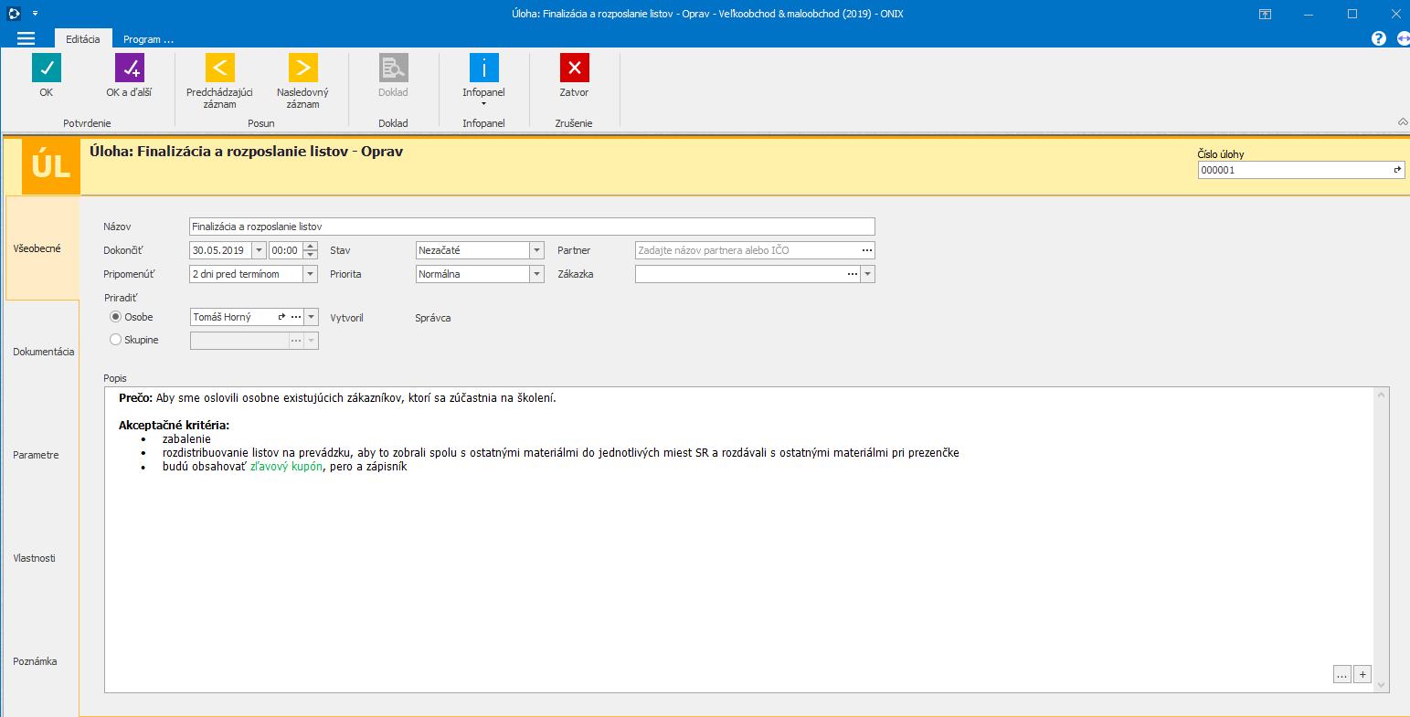 Všetky informácie o úlohe aj s možnosťou formátovať text či uviesť prílohu