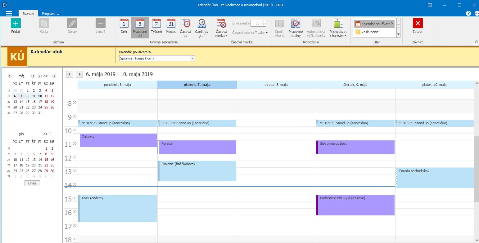 Pohodlné plánovanie činností so zdieľanými kalendármi jednotlivých užívateľov