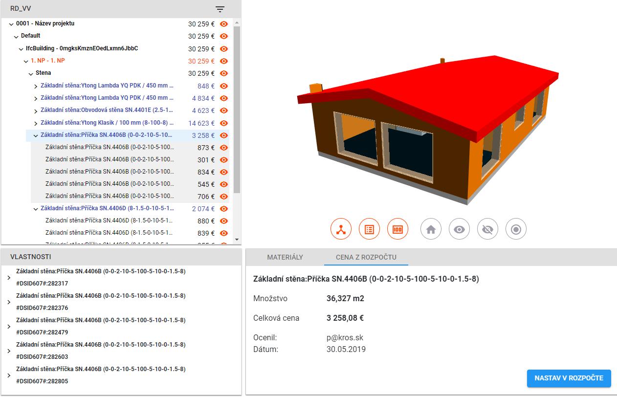 ae96eab59 Oceníte aj nemodelované náklady stavby. Výsledkom je celková cena stavby  rozdelená na časti modelu, ktorú si pomocou Prehliadača BIM modelu  skontroluje ...